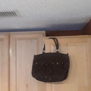 Vera Bradley Brown Quilted Shoulder HOBO Bag